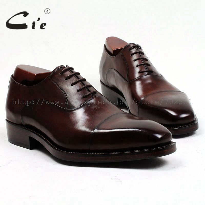 cie Free shipping custom goodyear welted handmade pure genuine calf leather mens dress oxford color coffee brown shoe No.OX484