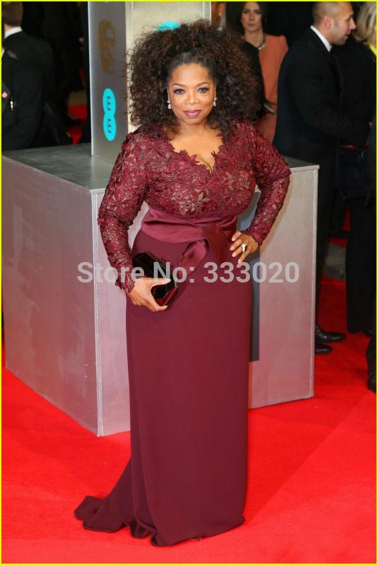 Oprah Winfrey Baftas 2014 Red Carpet Celebrity Formal Dress Burgundy Evening Gowns Long Sleeve Lace Chiffon Fitted Prom Dress