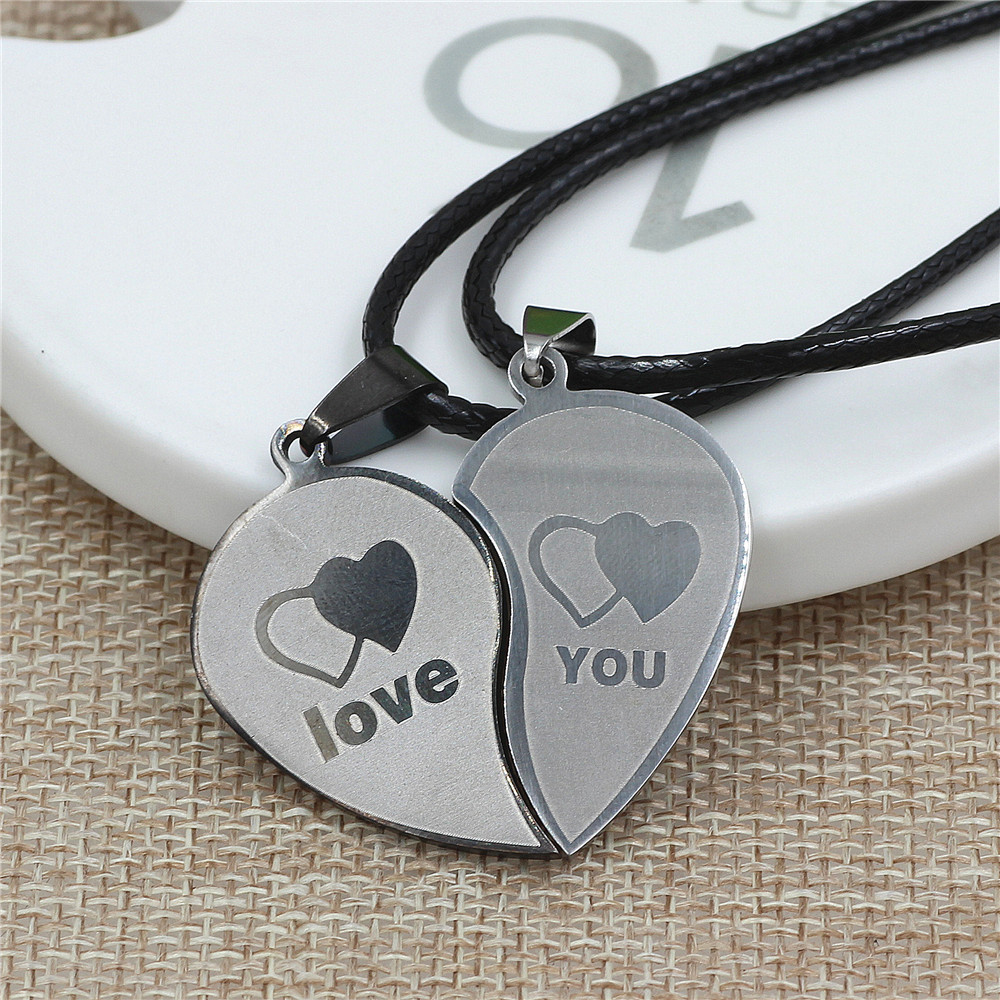 "2pcs Heart Shape "" Love Titanium Steel Couple Lovers"