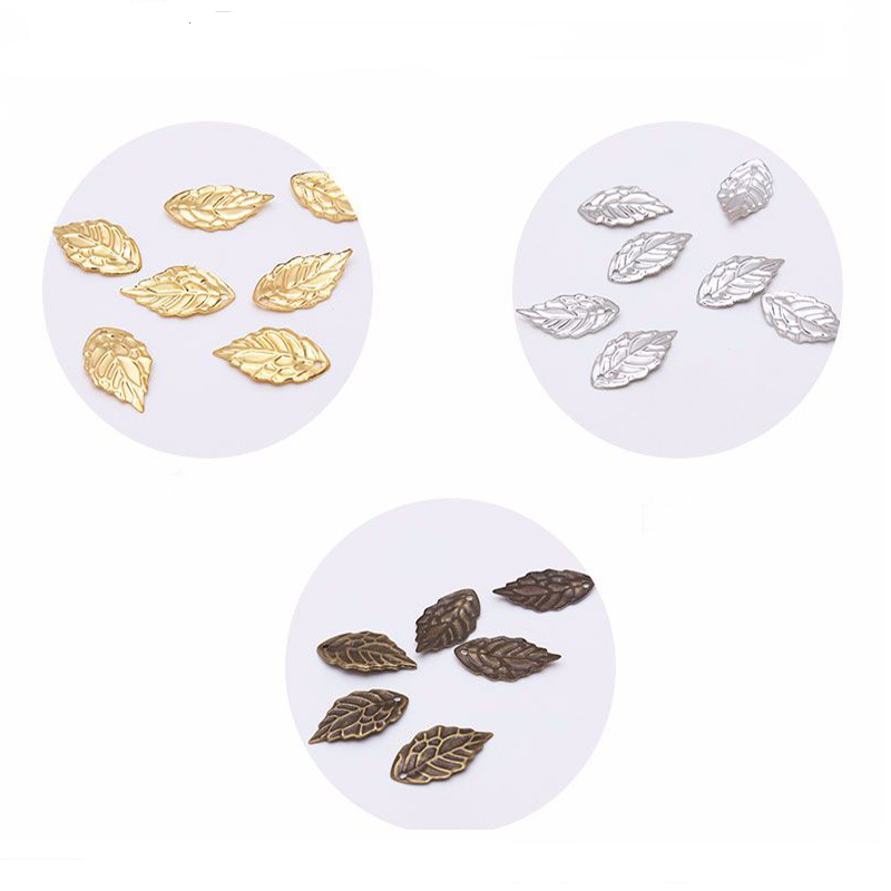 50PCS diy Jewelry Accessories Hairpin Necklace Material With Hole Small Tree Leaf Necklace Metal Flower Ingredients in Jewelry Findings Components from Jewelry Accessories