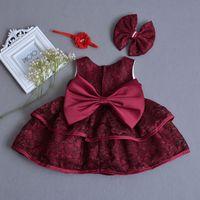 New Vestido Neonatal Baby Princess Boutique Dress Newborn Big Bow Baptism Gown Girls Vestidos 1st Birthday Girls Clothes