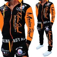 ZOGAA Men's Fashion Sportswear Two Piece Set Men Casual Sportswear Hoodies Tops and Pants Sets Letter Printed Tracksuit