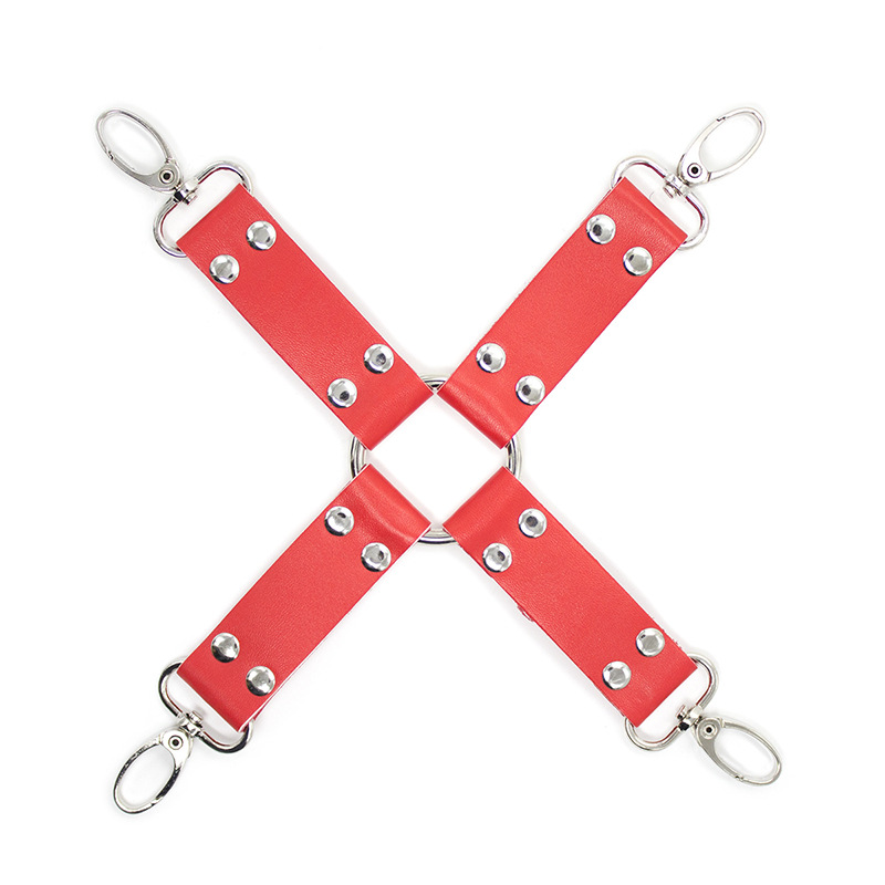 Sexy PU Leather BDSM Bondage Restraint Feet And Hands Cuff Cross Buckle Connected Fetish Erotic Sex Toys For Couples Adult Game