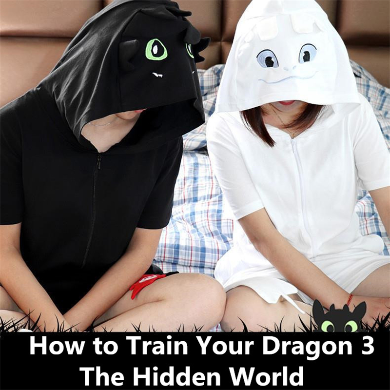 New How to Train Your Dragon 3 Light Fury Toothless Cosplay Costumes Kids Adult Pajamas Bathrobe Sleepwear Summer Jumpsuits Suit