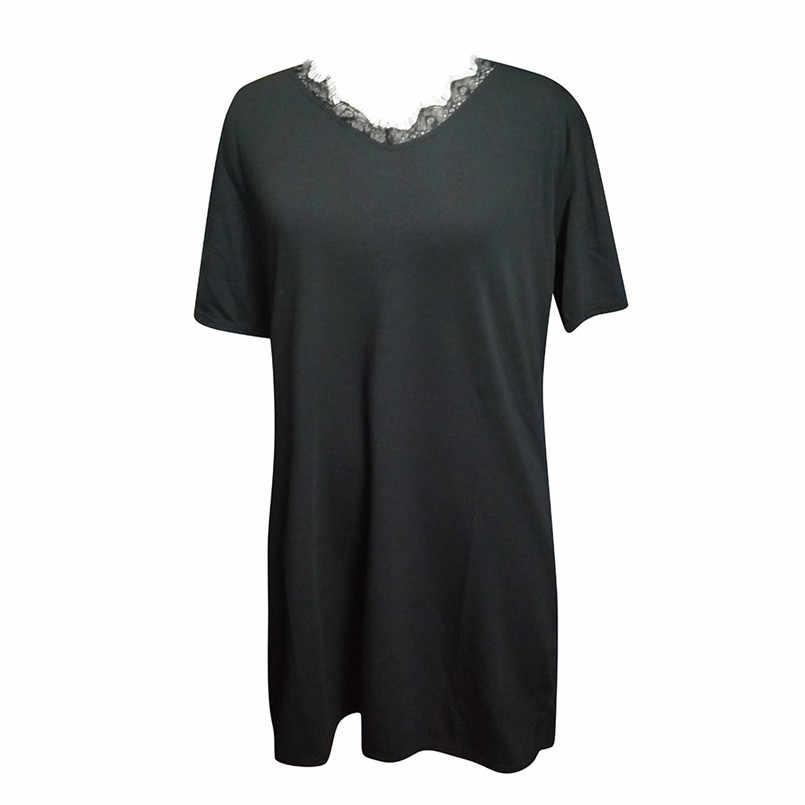 Plus Size zomer jurk Vrouwen half mouw v-hals Zomer losse zwarte Mini Jurken Dames Beach Shorts Zonnejurk zomer jurk #1