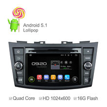 1024*600 Android 5.1 Car DVD for Suzuki Swift 2011 2012 with Quad Core GPS Sat Navi Support OBD DVR 3G Wifi SWC Support OBD