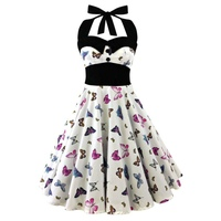 5XL Plus Size Skull Printed Dress Women Punk Strapless Halter Party Dresses Bowknot Self Gothic Dress
