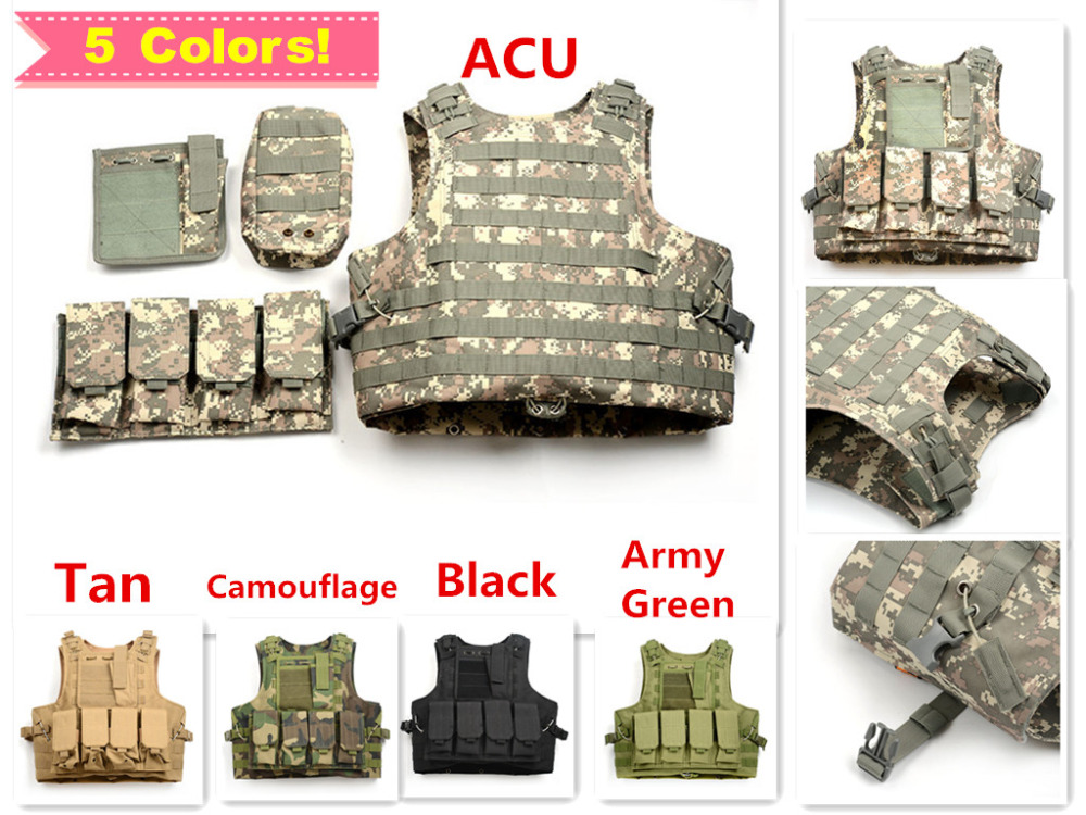 5 Colors Mello System Vest W/Many Pouches Tactical Combat Assualt Vest 800D Oxford Camo Airsoft Paintball US Army Military Vest