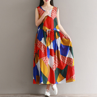 Sleeveless Vest Printed Loose Cotton And Linen Dress Summer