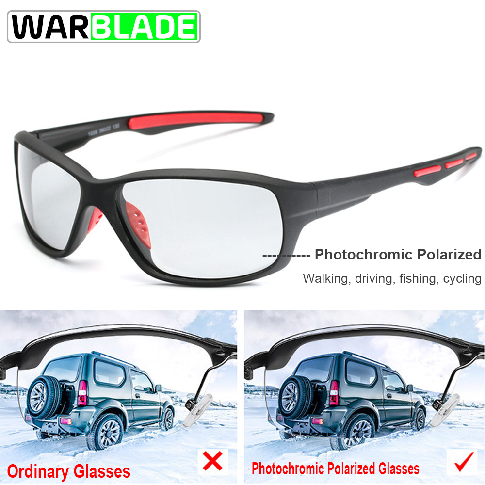 WarBLade Sport Photochromic Polarized Glasses Cycling Eyewear Bicycle Glass MTB Bike Bicycle Riding Fishing Cycling Sunglasses