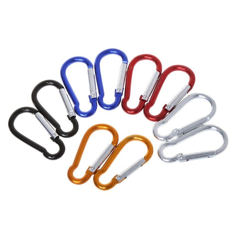 Hot 10 peças Da Liga de Alumínio D Carabiner Primavera Snap Clipe Ganchos Chaveiro Quickdraws Y51D