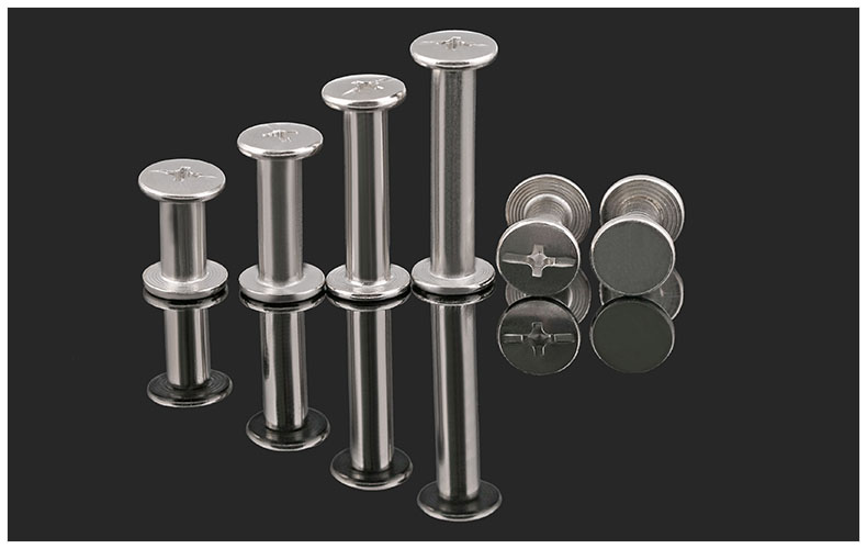 Riveted female screws Electroplating Nickel Bench Tape Book screws Butt screws Nuts Rivets Photo Album Docking Screws