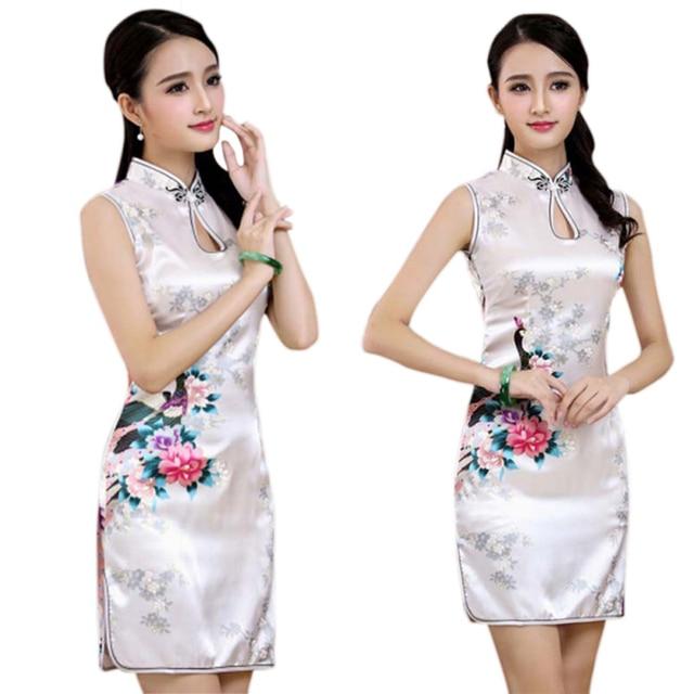 2019 New Sexy Flower Qipao Satin Summer Chinese vestidos Short Mini Silk Dresses Cheongsam Traditional Slim hot sale