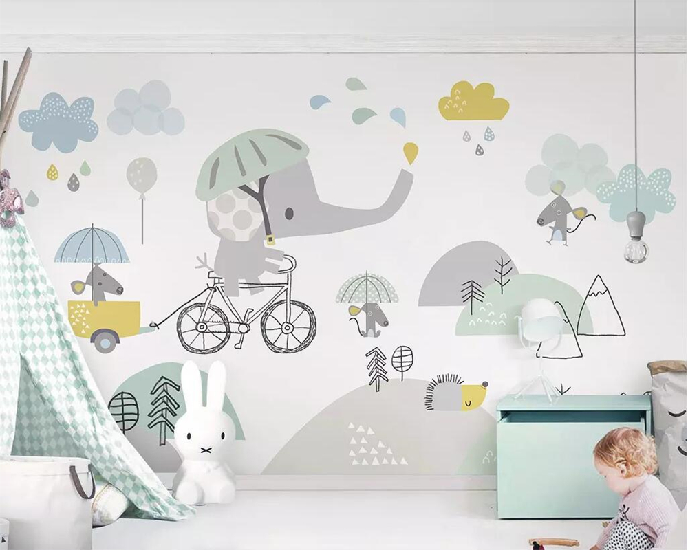 Beibehang Custom Wallpaper Baby Room Cute Cartoon Elephant Riding Bicycle Hamster Cloud Children Background Walls 3d Wallpaper