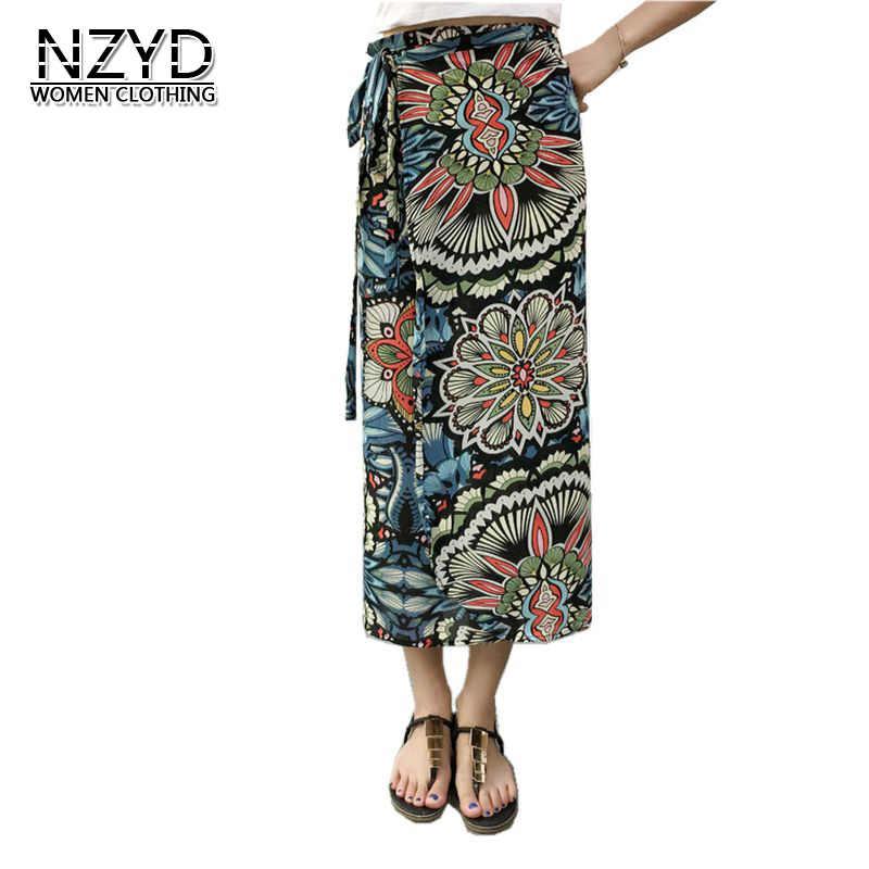 ded589f32537 2017 Women Summer Skirts Beach Vintage Print Chiffon One-piece wrap Skirts  New Fashion Female