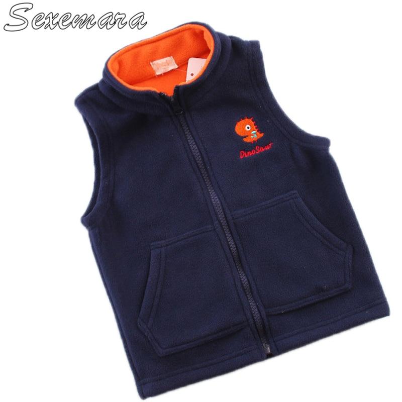 SexeMara Children's fleece embroidery new children's clothing boys and girls capless sleeveless sweater baby fleece jacket