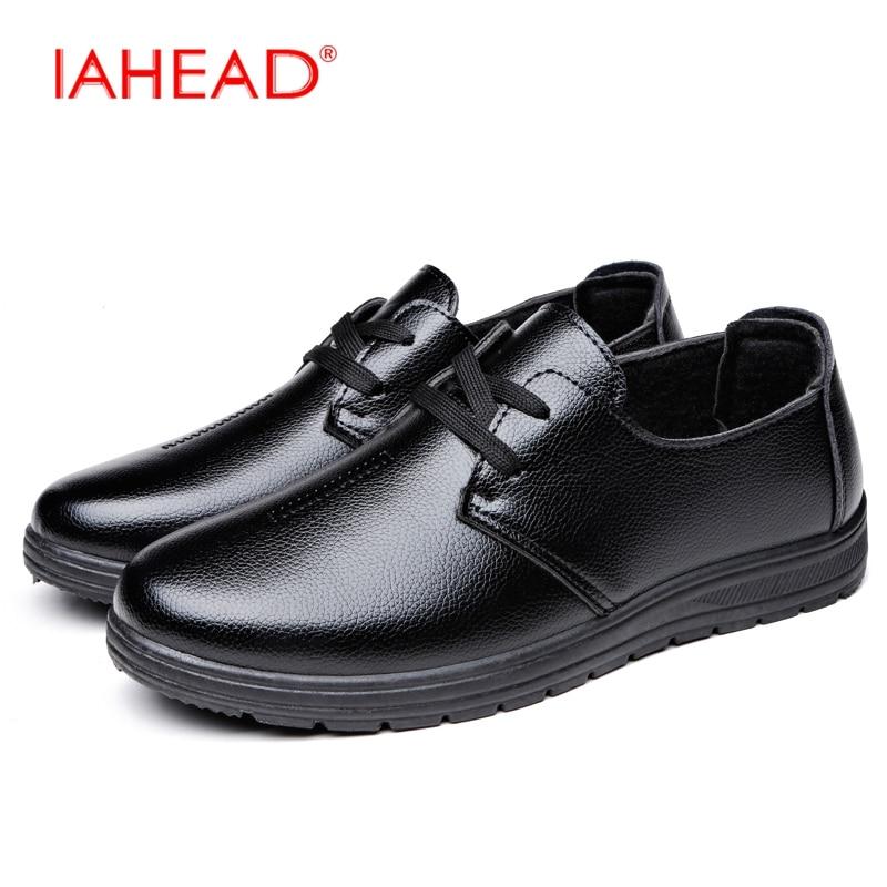 IAHEAD Men Lace-Up Oxfords Shoes Men Leather Casual Shoes Comfortable Driving Winter Shoes Men Cheap Shoes MH589