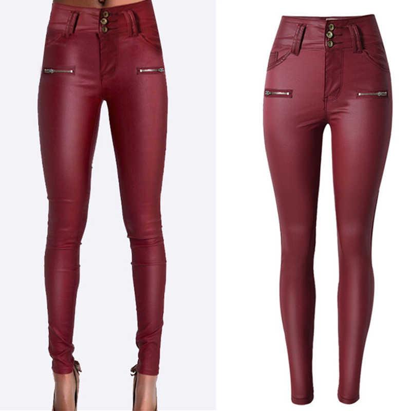 2a292111266 ... Новые модные красные джинсы с покрытием женщина карандаш Штаны Высокая  талия джинсы женские джинсовые брюки узкие ...