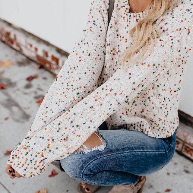 דוט הדפסת סרוג חורף סוודר נשים Streetwear עגול צוואר ארוך שרוולים נשים חולצות אימון מקרית בסוודרים סוודרסוודרים