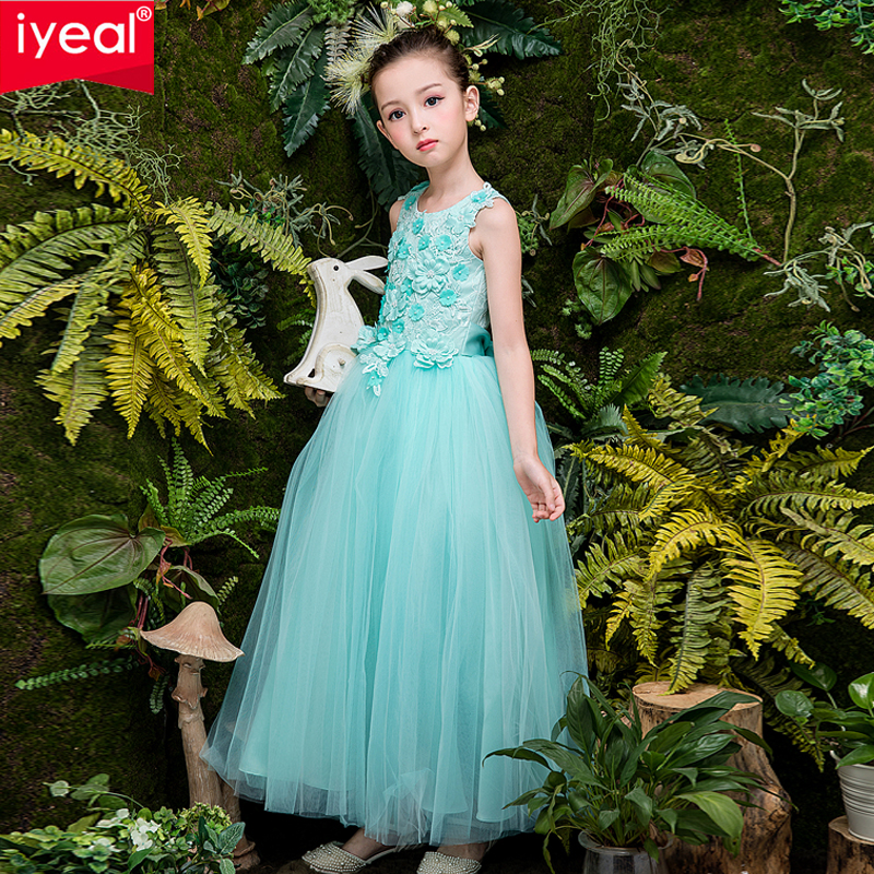 IYEAL Kids Dresses for Girls Wedding Tulle Long Dress Elegant Princess Formal Wedding Party Pageant Dress for Teen Children 4-12 цена