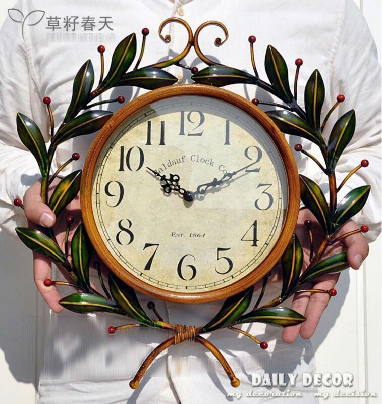 Muet rétro relogio de parede vintage fer forgé Olive amour horloges murales mode décoratif mural horloge reloj de pared