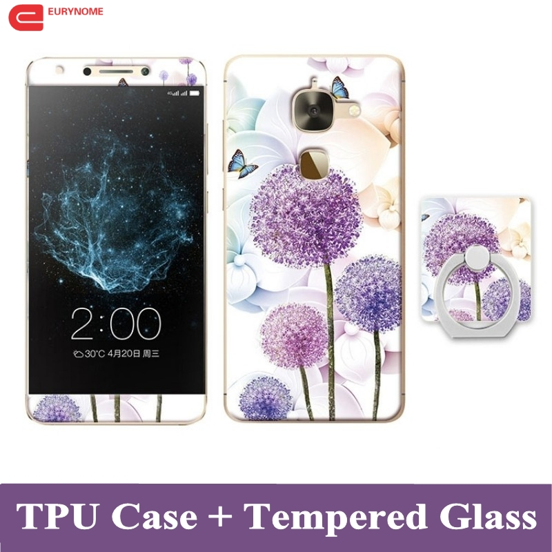 3D Cartoon Case For Letv Le 2 X527 Tempered Glass Film Finger Ring TPU Kickstand Patterned Cover for LeEco Le 2 Pro X620 Case