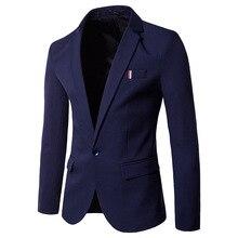 Белый брендовый блейзер мужской пиджак Повседневный маленький костюм Мужская корейская мода; Слим удобные, однотонного цвета нежелезный костюм куртка