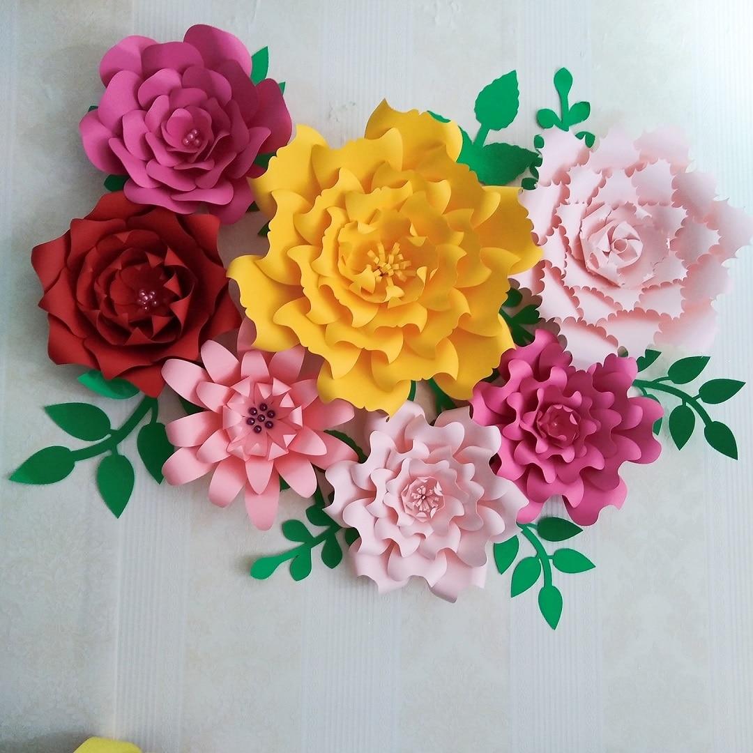 2018 paper flower backdrop giant paper flowers 7pcs