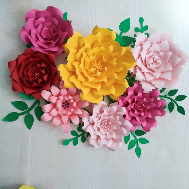 Aliexpress buy 2018 paper flower backdrop giant paper flowers 2018 paper flower backdrop giant paper flowers 7pcs leaves 10pcs mix colors styles wedding mightylinksfo