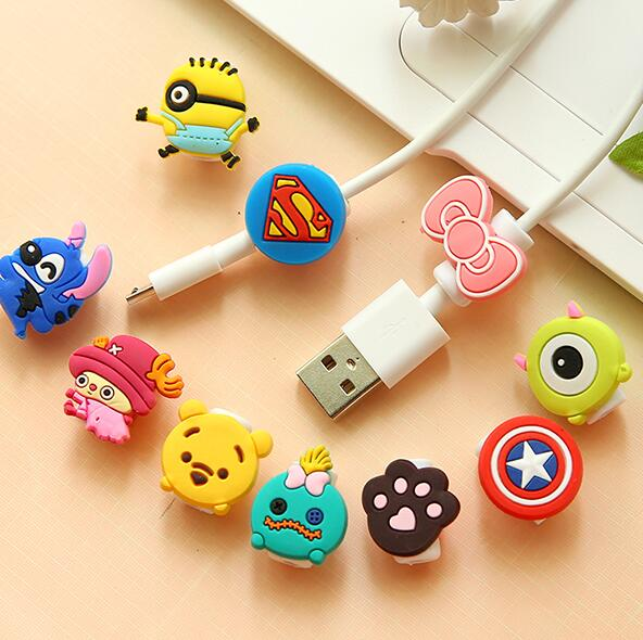 New Arrival Cute Lovely Cartoon Cable Protector de cabo USB Cable Winder Cover Case For Smart phone cable Protect  CXQ4