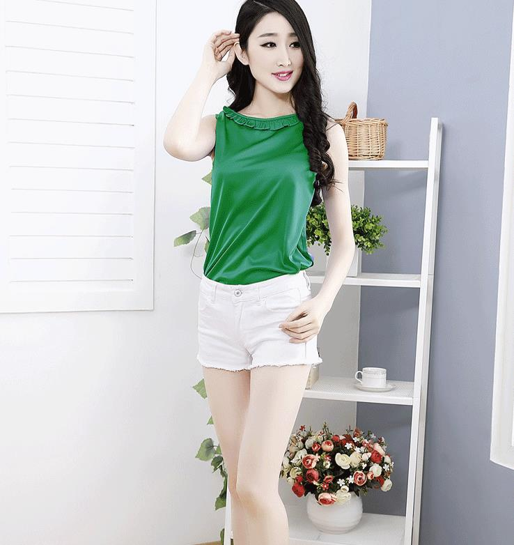 Woman Summer Plus Size Sleeveless Ruffled Solid 85% Silk Slim Blouse Female Spring Oversized Hedging Loose 85% Silk Shirts