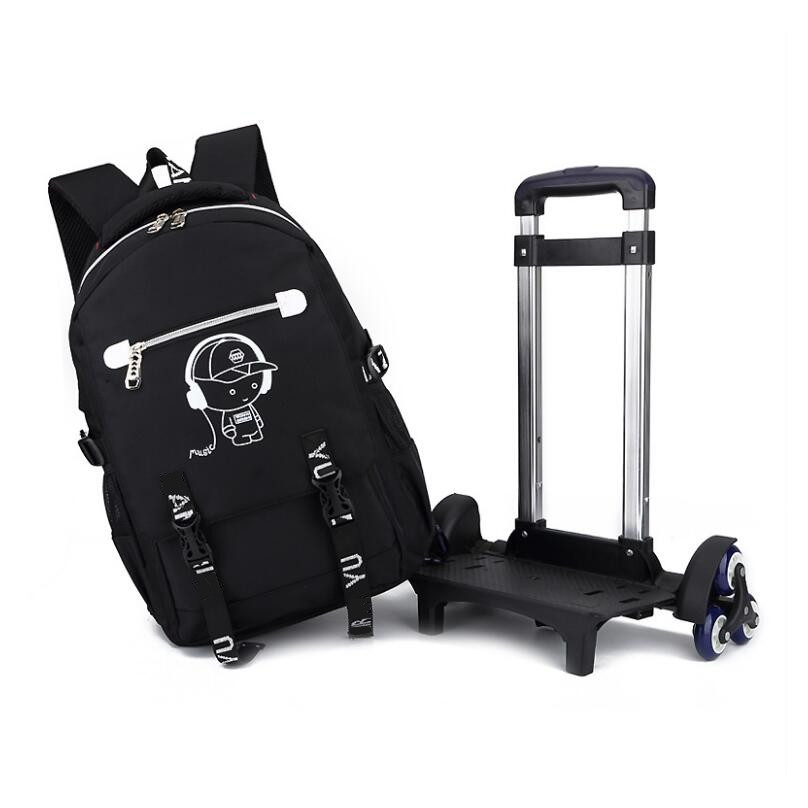 children s black rolling school backpack on wheels student girl wheel bag boys school bags kids
