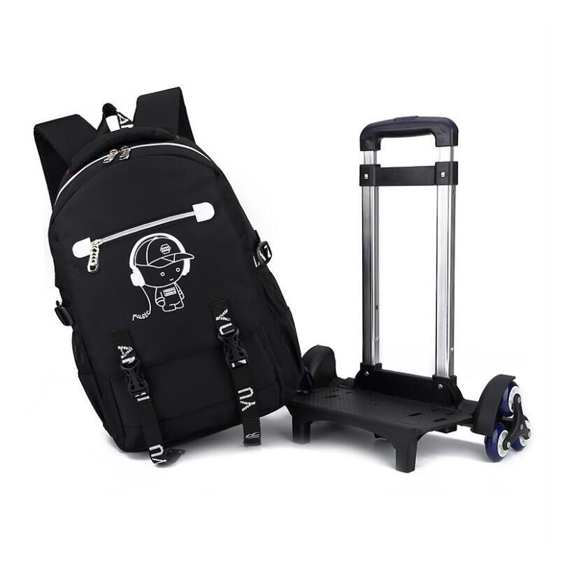 Sac à dos noir pour enfants à roulettes sur roulettes sac à roulettes pour filles et étudiants sacs d'école pour garçons sac à dos pour enfants