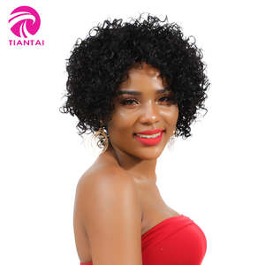 TIANTAI Curly Wig Natural-Color Short Human-Hair Glueless Kinky Women Black/white Bob