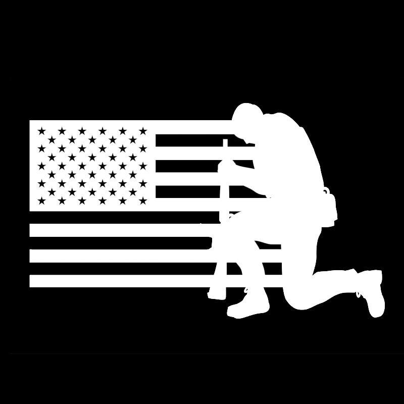 Soldier kneeling to the American Flag Vinyl Decal Sticker Car Truck Window