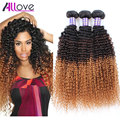 New Ombre Blonde Brazilian Hair Brazilian Kinky Curly Virgin Hair Three Tone Ombre Brazilian Hair Kinky curly weave human hair