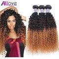 Nova Loira Ombre Brasileiro Cabelo Kinky Curly Brasileiro Virgem Do Cabelo de Três Tom Ombre Brasileiro Do Cabelo Crespo encaracolado tecer cabelo humano