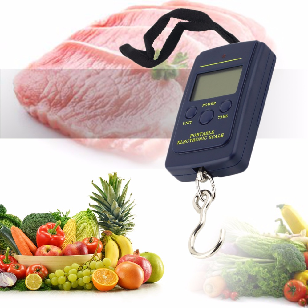 2016 New Arrival Mini Durable Portable 40kg/10g LCD Digital Display Electronic Hanging Fishing Pocket Weight Hook Luggage Scale  цены