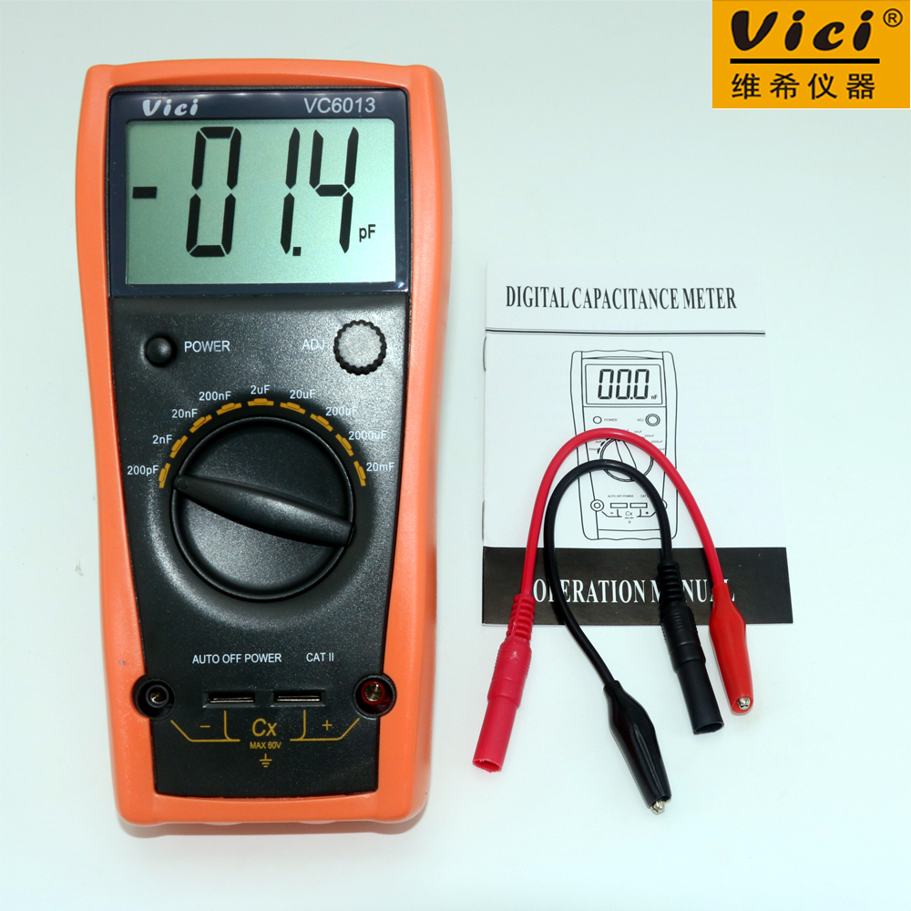 VICI VC6013 1999 Counts Digital high-precision LCD Meter 1999 counts manual Capacitance 200pF-20mF atuo power off