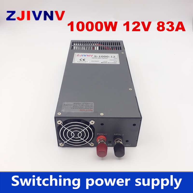New Arrival Cooling fan Voltage Transformer LED Display DC single output 12v 1000w 83a power supply high quality new arrival cooling fan 600w voltage transformer led display dc single output 12v 50a
