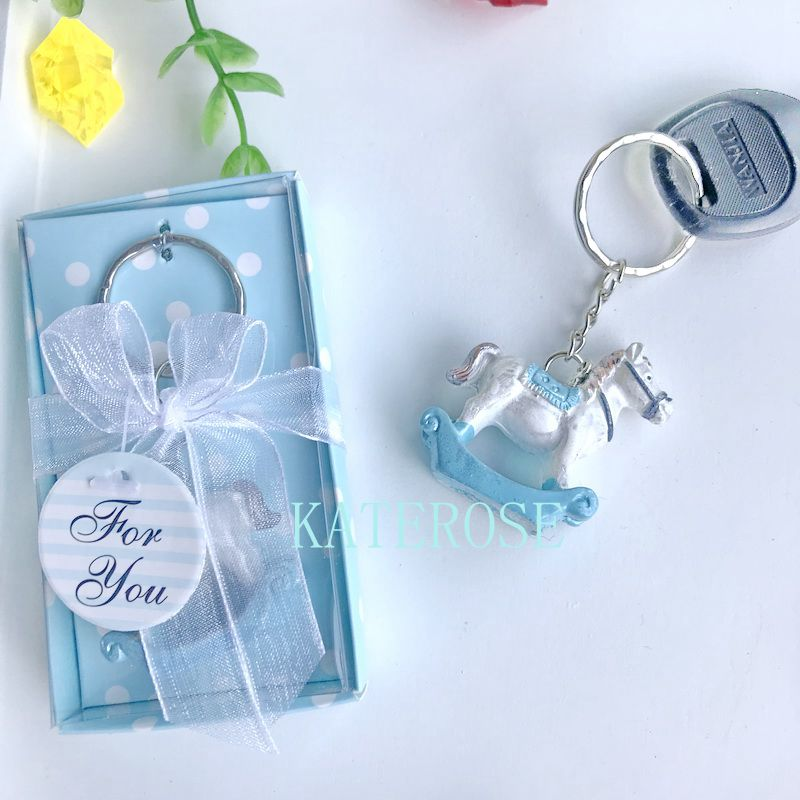20 Blue or Pink Baby Carriage Key Chain Favors Baby Shower Favor Boy or Girl