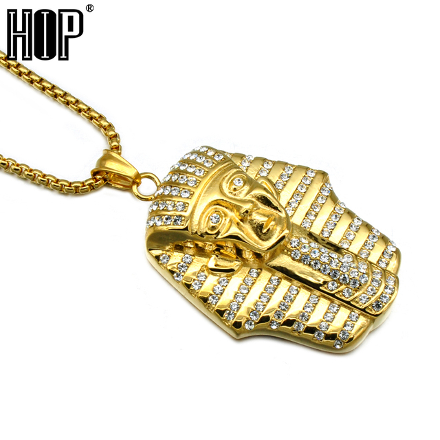 HIP Hop Clásico de Oro Plateado de Acero Inoxidable CZ Pavimenta Raya Egipto Faraones King Colgantes Collares para Hombres Joyería