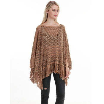 New Autumn Fashion Woman Poncho Hollow Tassel Loose Sweater For Women Pullover plus size Thin Sweater Loose Shawl 6