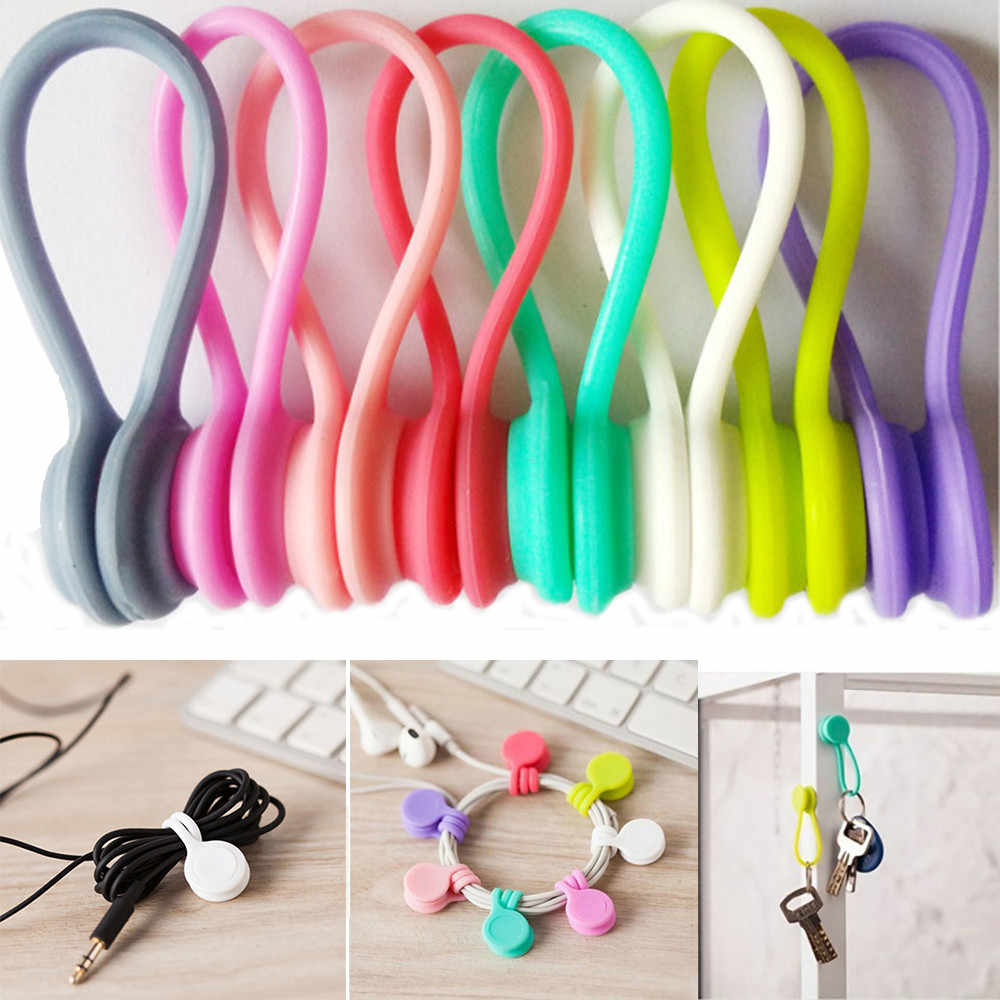 8Pcs Multifunction Magnet Earphone Cord Winder Cable Clips For Earphone Sujeta Cables Con Base Adhesiva Cable Clamp Wire Clip