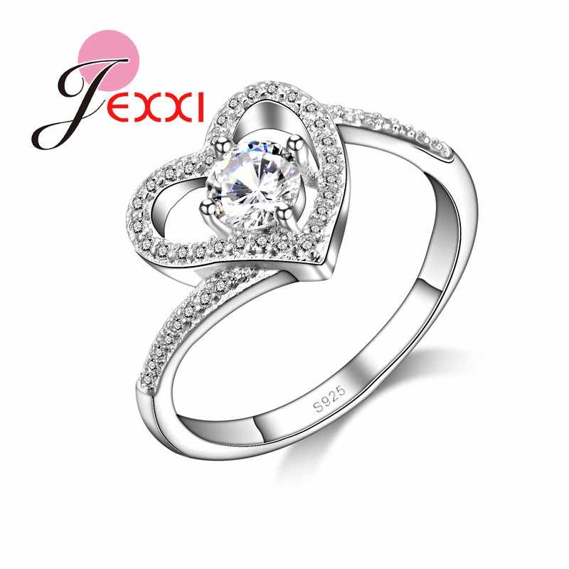 Hollow Love Heart Design With Shiny Cubic Zirconia Stone Rings 925 Sterling Sivler Finger Ring Jewelry For Women