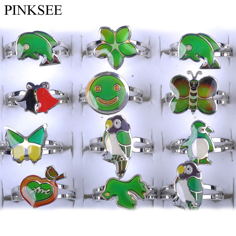 PINKSEE Gradienting Jewelry Cartoon Ring Fashion Children Girls Gifts Send Randomly Color