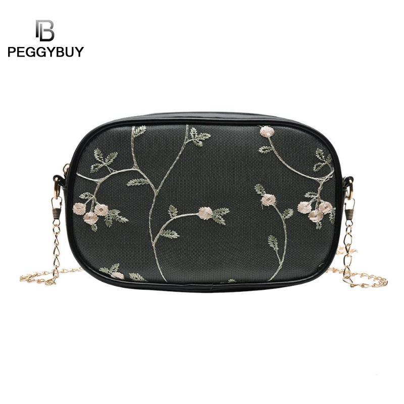 Lace Flower Decor Shoulder Handbags Women Chain PU Leather Crossbody Shoulder Bags Party Phone Purse Messenger Bag Bolsa