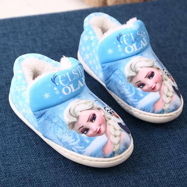 2c56d6b2d20 Children S Home Slippers warm Winter Shoes Elsa Kids Baby ice snow queen  Indoor boots for girl Velvet Soft Bottom Shoes