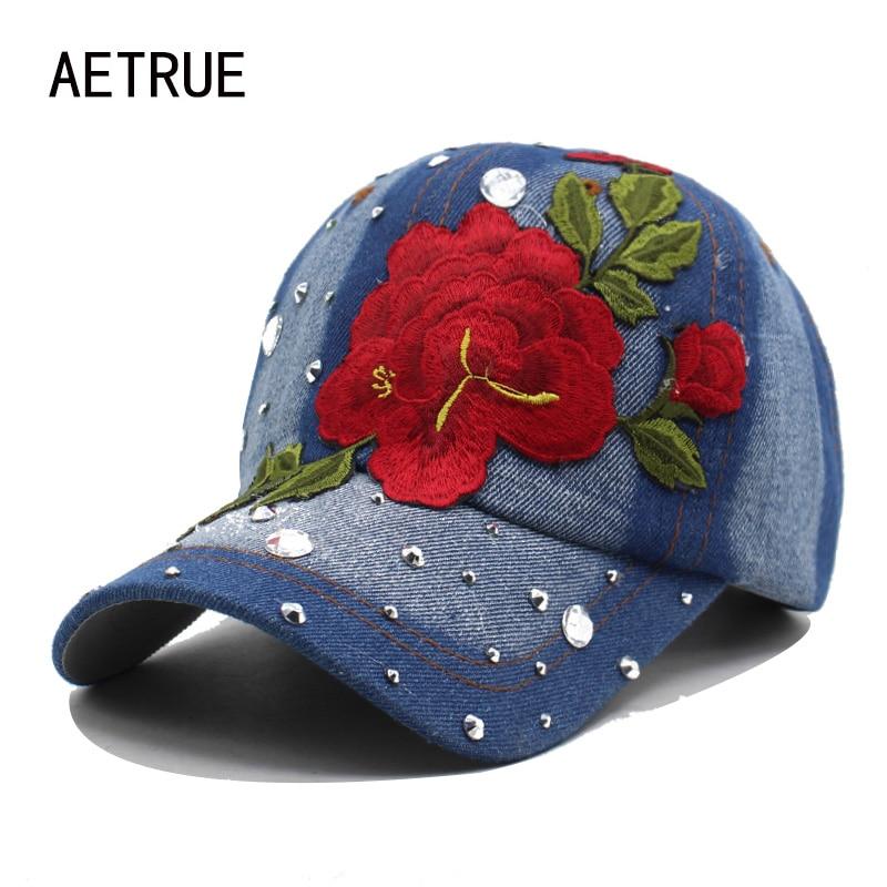 Brand Baseball Cap Women Girls Snapback Caps Hats For Women Diamond Fashion Casquette Bone Gorras Rose Flower Lady New Sun Hat