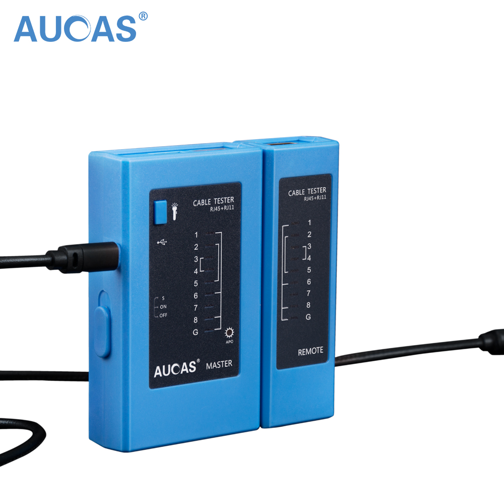 Free Shipping AUCAS Network Cable Tester (Orange)RJ45 RJ11 RJ12 CAT5 UTP LAN Cable Tester Networking Tool